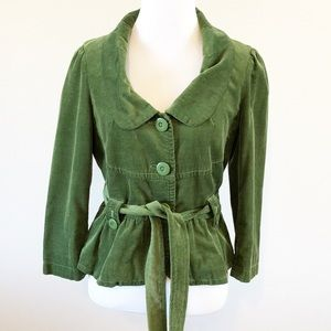 Anthropologie Elevenses Size 6 Green Short Coat